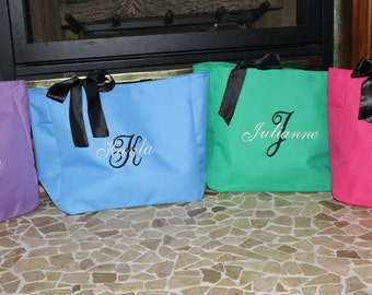Monogrammed Tote Bags Personalized Embroidered - Set of 6 -