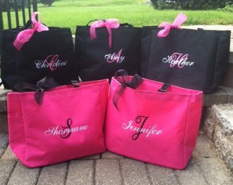 Personalized Bridesmaid Totes Monogrammed - set of 2 -