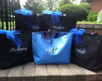 Monogrammed Tote Bag Personalized Bridesmaid  - Set of 8 - Bridal Party Gifts