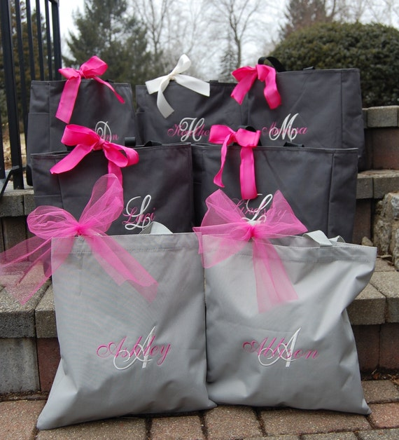 Personalized Bridesmaid Totes -Set of 9 -