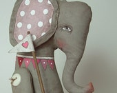 LAST ONE-- Elephant Love Heart Hand Painted Original Folk Art Cloth Doll