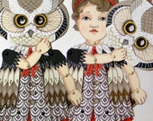 CLEARANCE-- Owl Mask Dolly-- Original Folk Art DIY Articulated Paper Doll Set