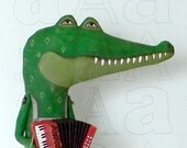 LAST ONE- Alligator and Accordion- Original Hand Painted Folk Art Doll Sculpture- Made to order within a week
