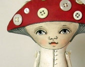 Mushroom-- Folk Art Doll Amanita Toadstool-- Made to order within a week