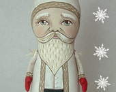 Christmas Santa in White-- Contemporary Folk Art Doll-- Made to order within a week-- LAST ONE