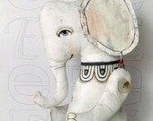 White Elephant-- Original Contemporary Folk Art Doll-- Made to order within a week