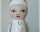 LAST ONE- Bunny Rabbit-- Hand Painted Original-- Contemporary Folk Art Cloth Doll Sculpture
