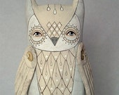 White Owl-- Original Contemporary Folk Art Doll-- LAST ONE-- Made to order within a week