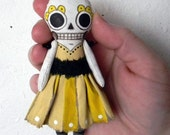 Halloween Day of the Dead Skeleton Doll Ornament- Contemporary Folk Art Sculpture- Hand Painted Original- Made to Order within a Week