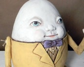 Humpty Dumpty Easter Egg Contemporary Folk Art Doll Sculpture Hand Painted Original OOAK