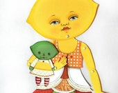 Lemon Lime Paperdoll Anthropomorphic Fruit Articulated Original Folk Art DIY Paper Doll Set