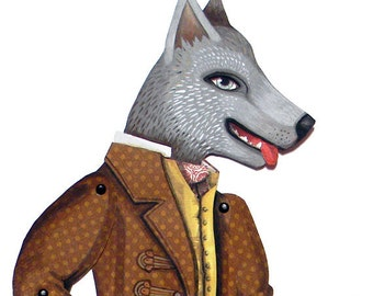 SALE- Big Bad Wolf Jointed Articulated Anthropomorphic Paper Doll DIY Craft Original Folk Art
