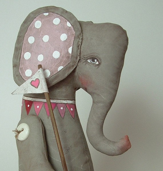 LAST ONE-- Elephant Love Heart Hand Painted Original Folk Art Cloth Doll