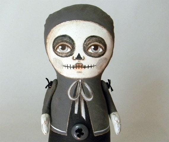 OOAK Halloween Skeleton Doll-- Original Contemporary Folk Art