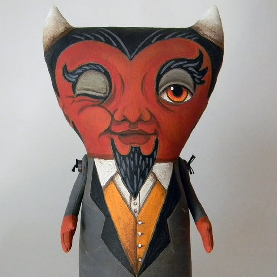 Devil Doll-- Original Hand Painted Contemporary Folk Art-- Made to order within a week
