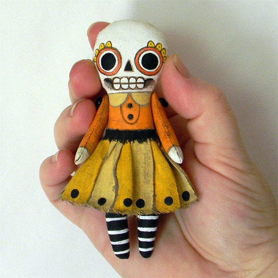 Halloween Skeleton Day of the Dead Ornament Doll-- Original Contemporary Folk Art-- MADE TO ORDER (last one)