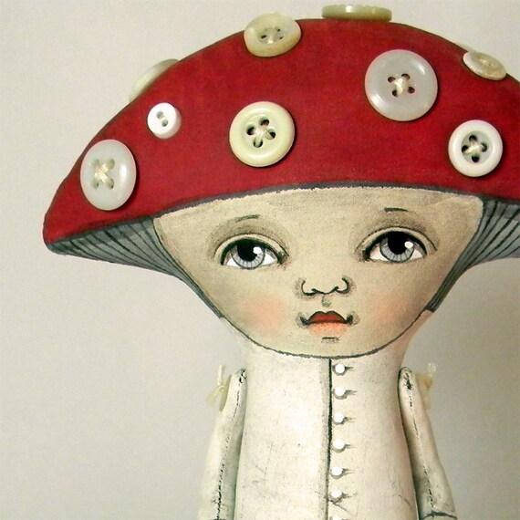 Mushroom-- Folk Art Doll Amanita Toadstool-- Made to order within a week