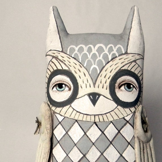 White Owl-- Original Contemporary Folk Art Doll-- Made to order within a week -LAST ONE