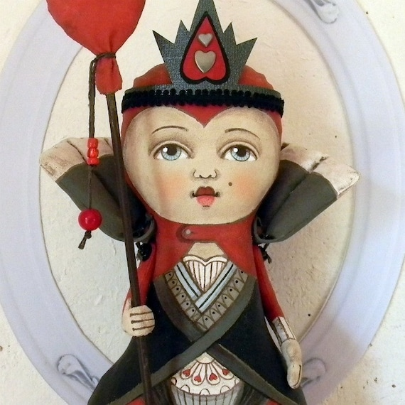 LAST ONE - Red Queen of Hearts Contemporary Folk Art Doll Sculpture Hand Painted Original - Custom Made to Order