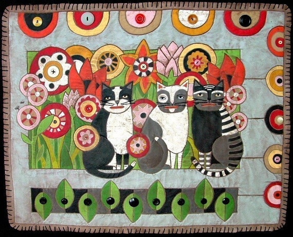 DIY Painted Quilt Full-sized Pattern-- Folk Art Cats in the Garden-- Quilted Painting