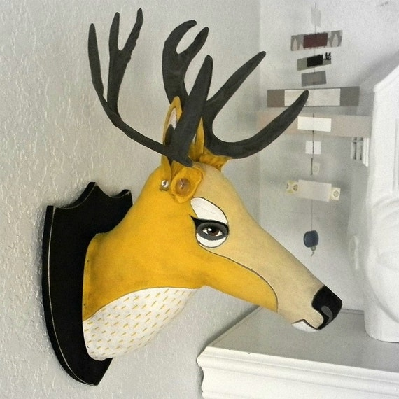 LAST ONE- Yellow Deer Head Hand Painted Original Folk Art Cloth Sculpture-- Friendly Faux Taxidermy-- Made to order within a week