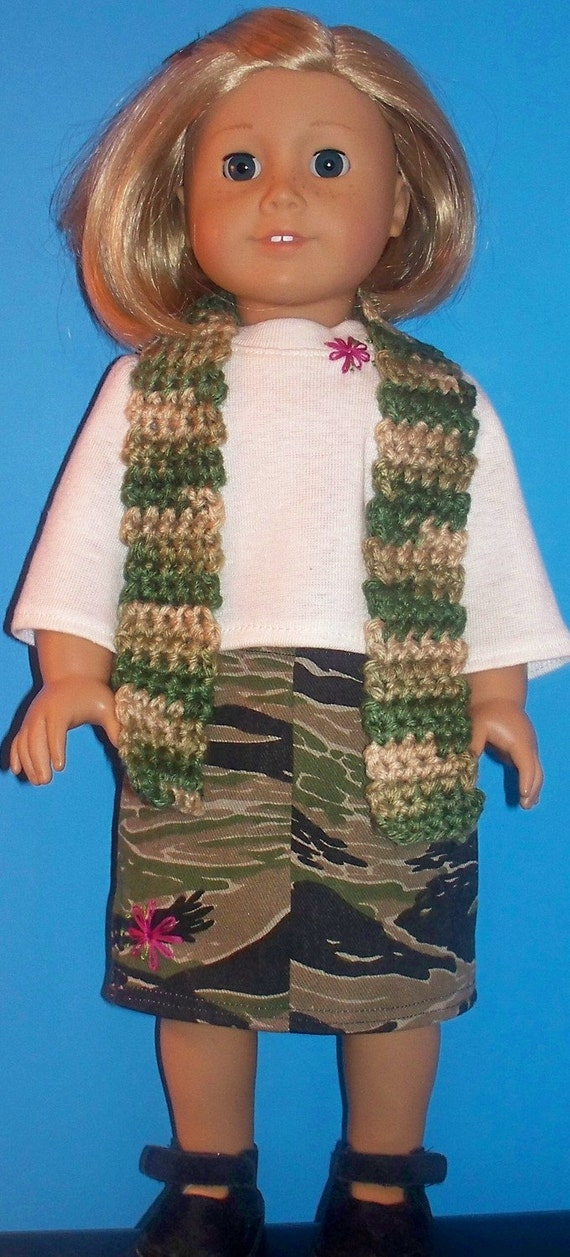 American Girl Doll Clothes - Three Piece Camo Skirt set - SALE