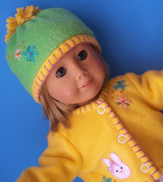 Yellow Bunny Fleece Springtime Easter Jacket set for American Girl Dolls