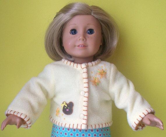 American Girl Doll Clothes - Fleece Jacket - Yellow with Bear Applique