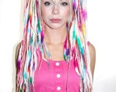 Rainbow Wool Lock Hairfall With Pink Dreads