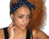 Navy with Blue Spotty 50s Style Head Scarf