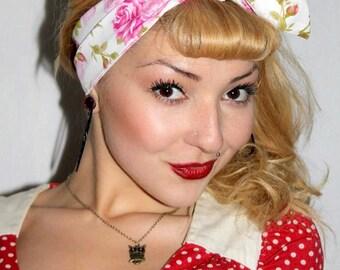 Pink Rose Vintage Style 1950s Head Scarf / Hair tie