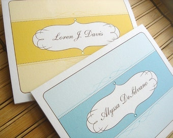 Oval Flourish Folded Note Cards - Set of 12