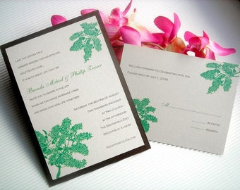 Summer Leaves Wedding Invitation Set