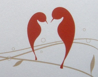Love Birds Folded Note Cards - Set of 25