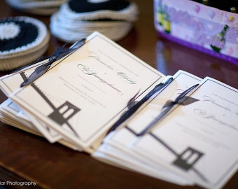 Brooklyn Bridge Wedding Ceremony Programs with Ribbon Ties
