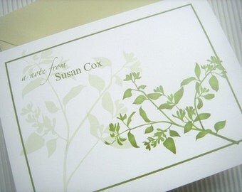 Green Branches Folded Note Cards - Set of 25