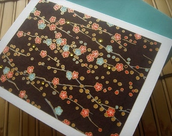 Royal Chocolate Blossoms Blank Folded Note Card