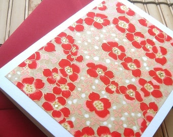 Royal Red Blossoms Blank Folded Note Card