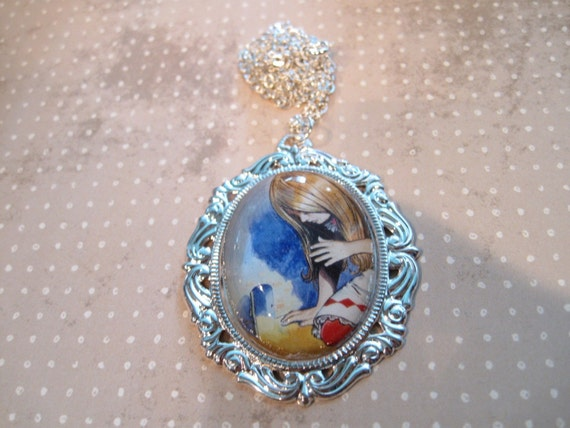 Alice in Wonderland Trying to Get In Necklace