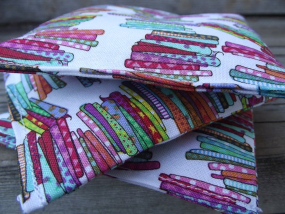 Lavender Dryer Sachet Bundle - Set of Three -  Stacks of Fabric Print - To Benefit Heart Strings