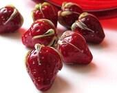 strawberry delicious lampwork glass bead - debra kallen