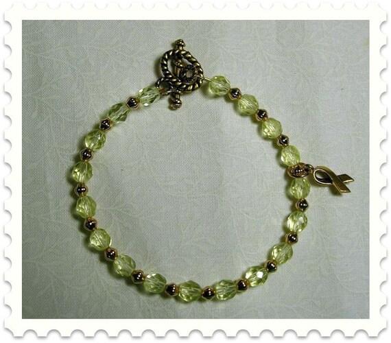 Yellow Czech Bead Awareness Bracelet  25 PERCENT OFF