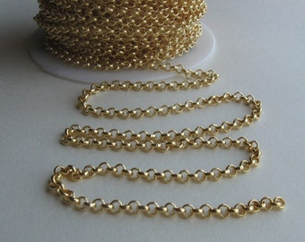 Gold plate over brass medium rolo chain 6ft 3mm links