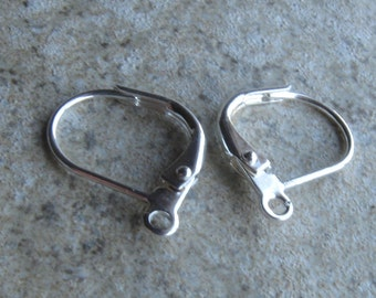 Silver plated lever back earwires 3 pair 13mm