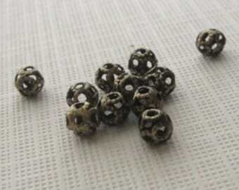 40 Antiqued brass 4mm round filagree beads