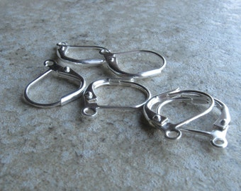 Silver plated lever back earwires 6 pair 13mm
