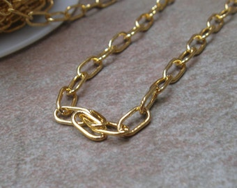 Goldplated drawn large cable chain 7mm links 6 ft.