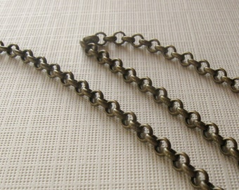 3ft Brass antiqued large rolo chain 4mm links