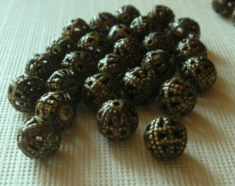 40 Antiqued brass 6mm round filagree beads