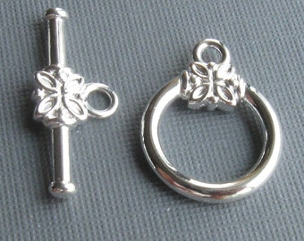 3 Silver plated brass 14mm toggle clasps
